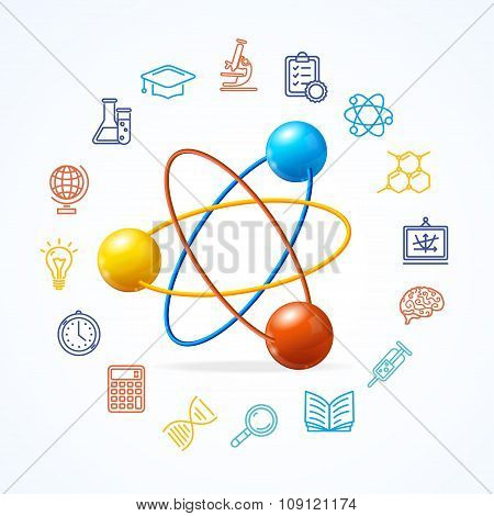 Science Concept and  Outline Colorful Icons Set. Vector