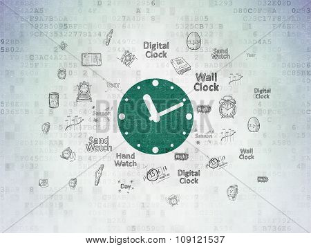 Timeline concept: Clock on Digital Paper background
