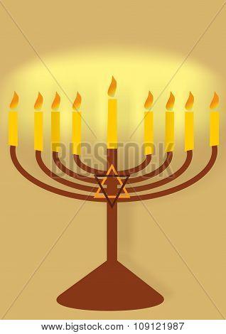 hanukiah with candles