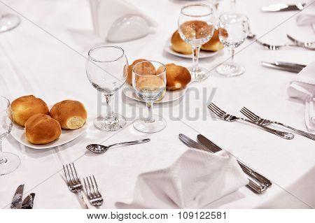 Elegant Restaurant Table Ready For Eat