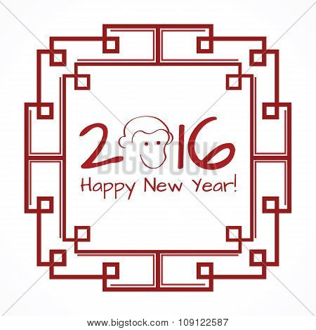 Chinese new year 2016 symbol fair monkey, red oriental frame