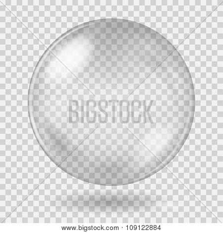 Big White Transparent Glass Sphere. Transparency Only In Vector File