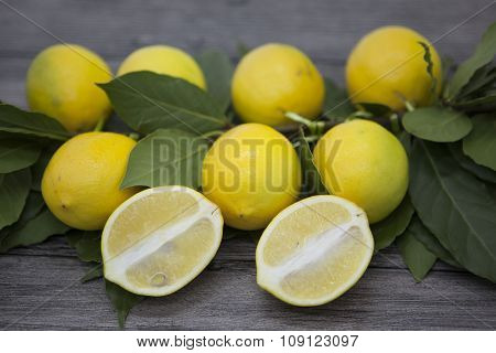 Branch of fresh juicy Sicilian lemons on a wooden background.