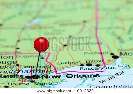 New Orleans pinned on a map of USA