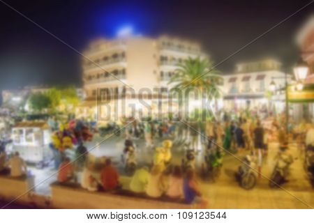 Abstract Blurred Background Of People Walking In City Center - Greece Lefkas