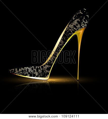 lace black shoe