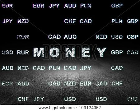 Money concept: Money in grunge dark room