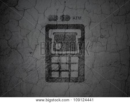 Banking concept: ATM Machine on grunge wall background