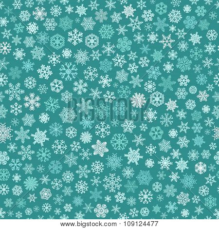 Seamless Pattern Of Snowflakes, White And Light Blue On Turquoise
