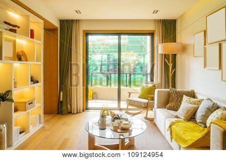 interior of living room of villa
