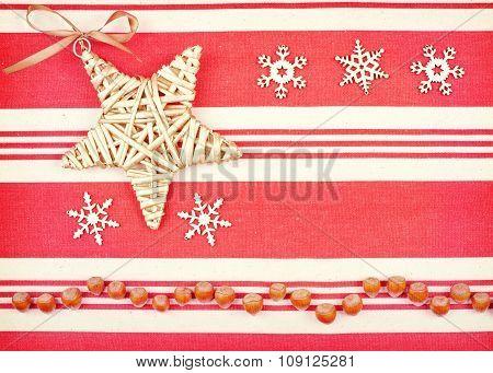 Retro Style Christmas Background On Linen Fabric