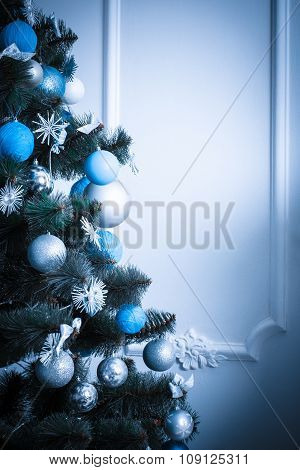 Decorated Christmas Tree. Blue Toned