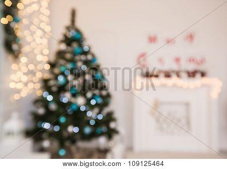 Beautiful Christmas Living Room With Christmas Tree And Fireplace