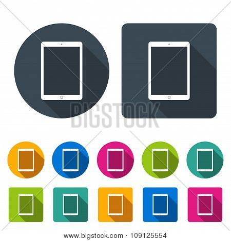 Tablet Icons Set In The Style Flat Design Different Color On The White Background. Stock Vector Illu