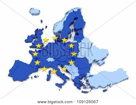 European Union Map With Flag
