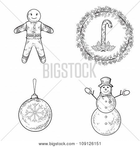 Christmas Snowman, Gingerbread, Candy Cane, Ball, Mistletoe