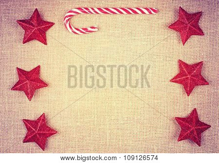 Vintage Toned Christmas Decorations On Linen, Space For Text.