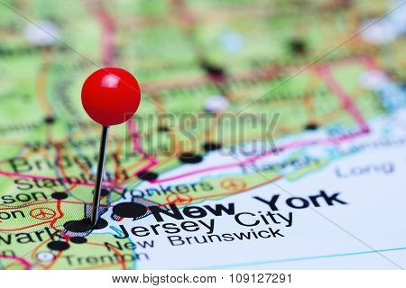 Jersey City pinned on a map of USA