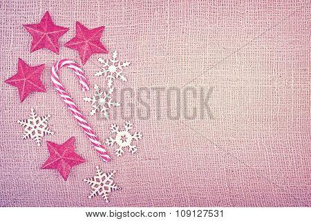 Vintage Toned Style Christmas Decorations On Jute Fabric