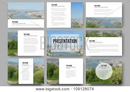 Set of 9 templates for presentation slides. Nature landscape. Abstract multicolored backgrounds. Nat