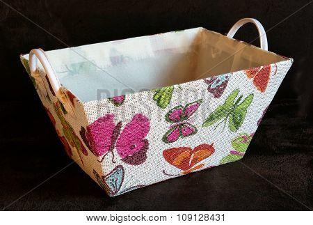 Colorfull Textil Basket On The Dark Background