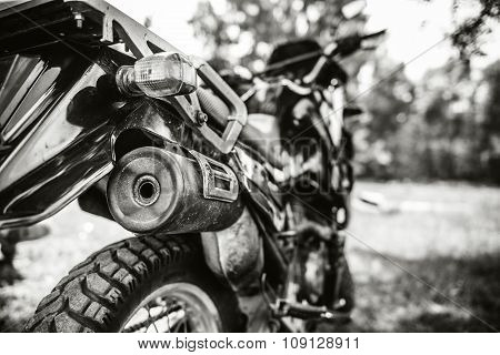 Closeup Photo Of Offroad Motor Bike Outdoor