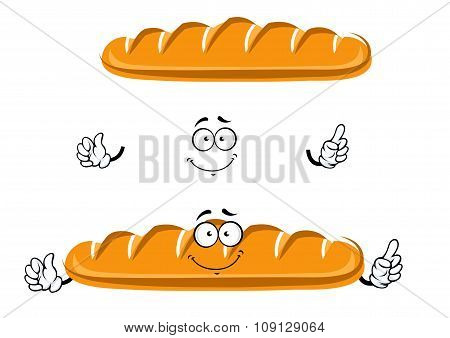 Cartoon long loaf of wheat bread