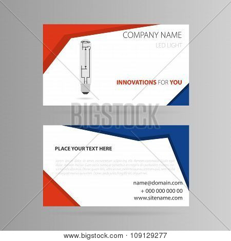 Template business card with LED bulb