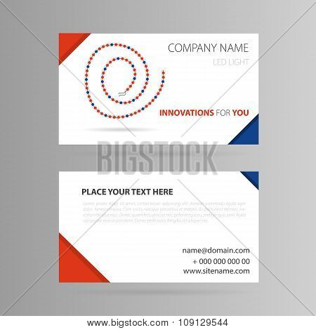 Template business card with LED tape