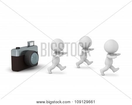 3D Characters Running Away From Photo Camera