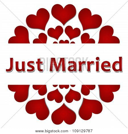 Just Married Red Hearts Circular Square