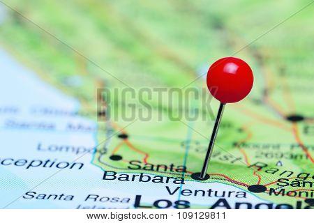 Santa Barbara pinned on a map of USA