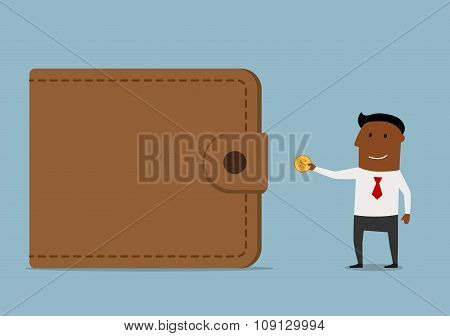 Businessman brings money to the wallet
