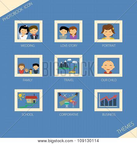 Icon set of themea photobook