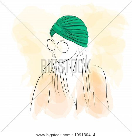 Woman in green turban