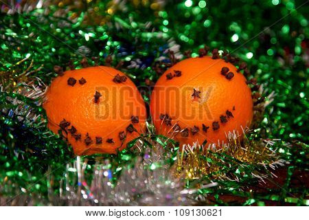 Christmas Orange With Smile Cloves. Merry Christmas