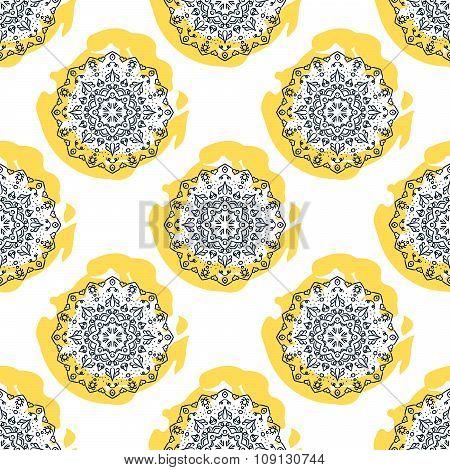 Mandala flower seamless vector pattern. Repeating background.