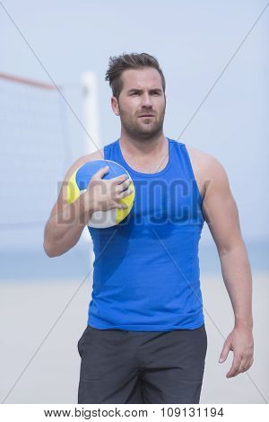 Beach Volley Player And Ball.