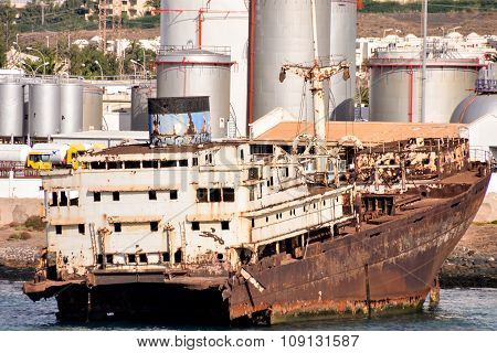 Abandoned Metal Rusty  Ship