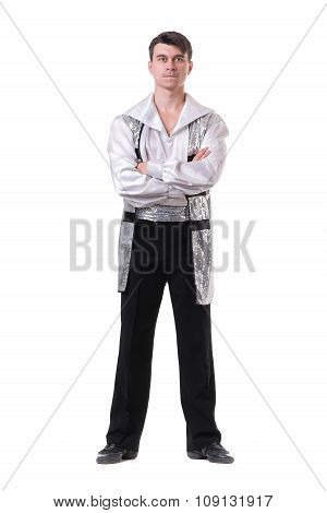 Young and stylish modern ballet dancer, isolated on white. Full body.