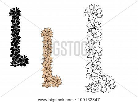 Capital letter L with retro outline flowers
