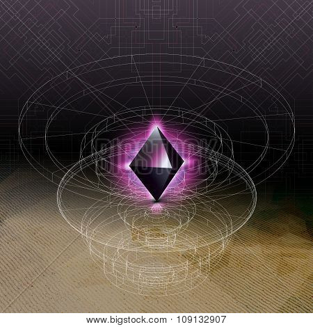 Abstract geometric shape, scientific graphic design. Futuristic vector illustration