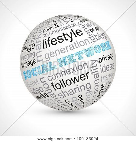 Social Network Theme Sphere With Keywords