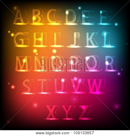 Luminous alphabet. Neon English font.