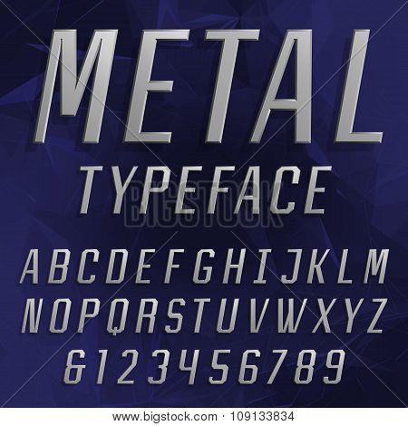 Chrome Alphabet Vector Font. Type letters and numbers.