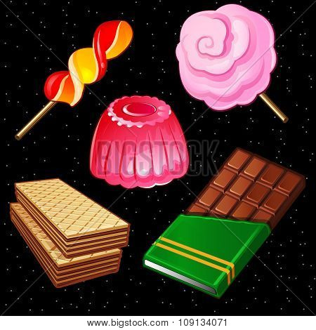 Compositions of sweets, five different icons