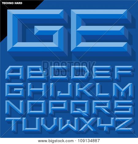 Vector 3D blue beveled alphabet  in  techno style with shadow. Simple colored version.