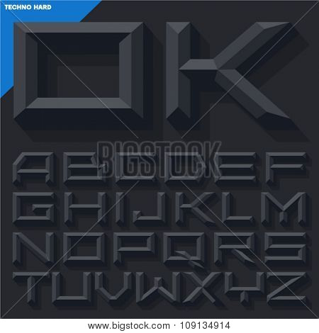 Vector 3D black beveled alphabet  in  techno style with shadow. Simple colored version.