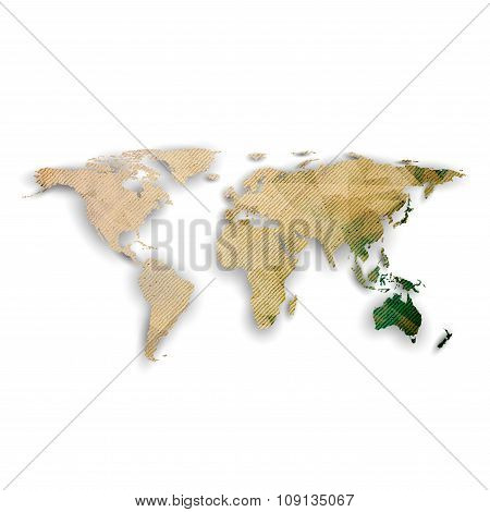World map with shadow, textured design vector illustration