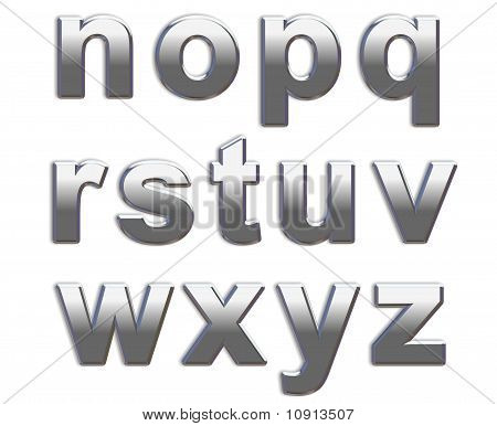 Chrome Lower Case Letters n-z